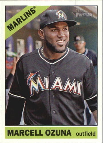 Photo of 2015 Topps Heritage Gum Stained Back #105 Marcell Ozuna