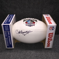 AUAF - RAMS JACK YOUNGBLOOD SIGNED HALL OF FAME LOGO PANEL BALL