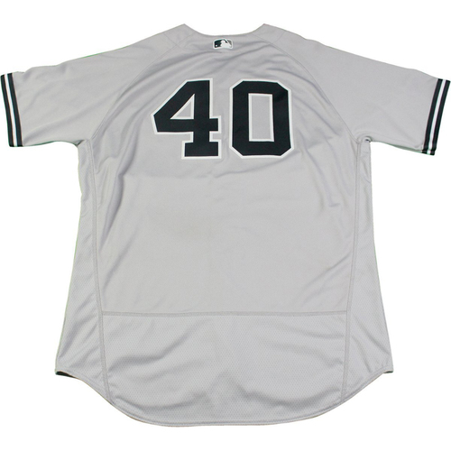 Photo of Luis Severino New York Yankees Game-Used #40 Grey Jersey (8/17/2017). Jersey Size - 48