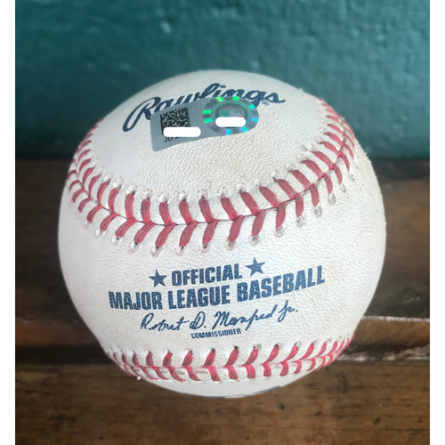 Photo of Cardinals Authentics: Game-Used Baseball Pitched by Jordan Hicks to Odubel Herrera *Strike out - Wild Pitch 103.7 MPH*