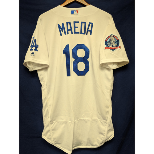 Photo of Kershaw's Challenge: Kenta Maeda Game-Used Home Jersey (12 Ks) - 5/23/18