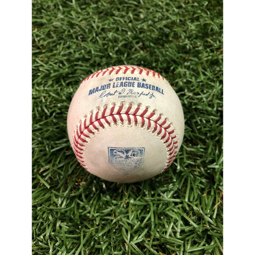 Photo of 20th Anniversary Game-Used Baseball: Nathan Eovaldi strikes out Garrett Cooper and Cameron Maybin - July 20, 2018 v MIA