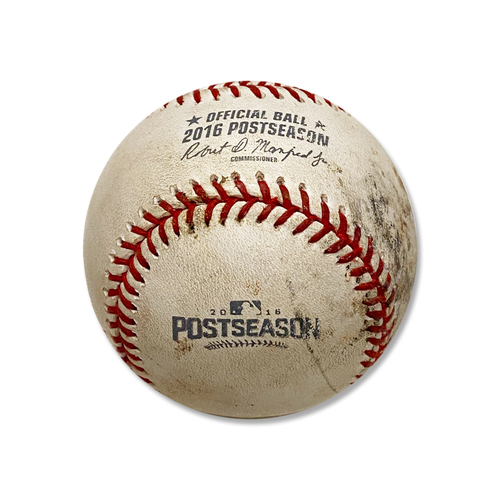 Photo of Game Used Baseball - 2016 NL Wild Card Game - Madison Bumgarner to T.J. Rivera - Double - Madison Bumgarner to Jay Bruce - Foul Ball - 5th Inning - Mets vs. Giants - 10/5/16