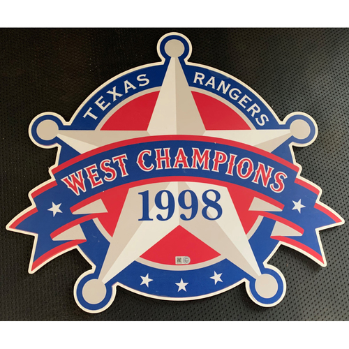 Photo of 1998 A.L. West Champions Sign Displayed in Tunnel Leading From Home Clubhouse to Home Dugout at Globe Life Park