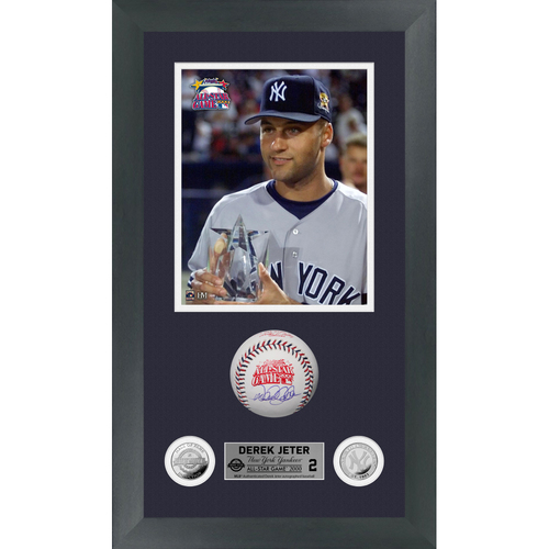 Photo of Derek Jeter Autographed 2000 All Star Game Logo Baseball Shadow Box Frame