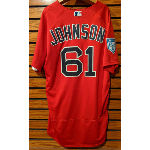 Photo of Brian Johnson #61 2019 Spring Training Team Issued Red Jersey
