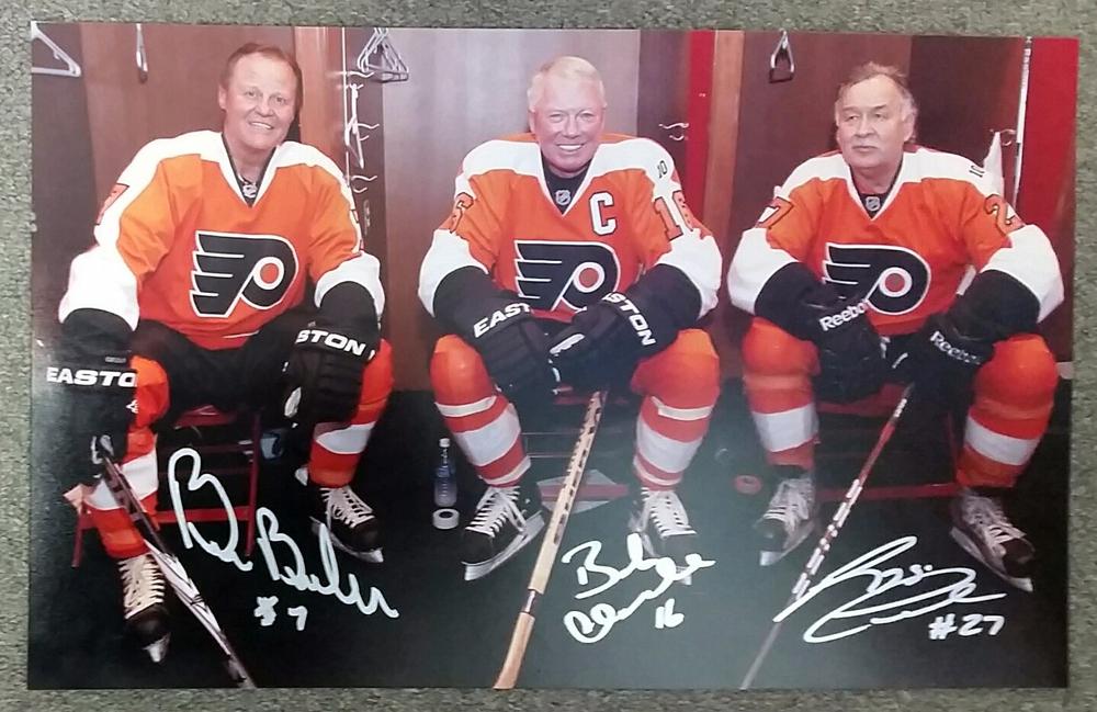 Reggie Leach, Bill Barber & Bobby Clarke Philadelphia Flyers Multi-Signed 2012 Winter Classic Alumni Lockeroom 10X16 Photo