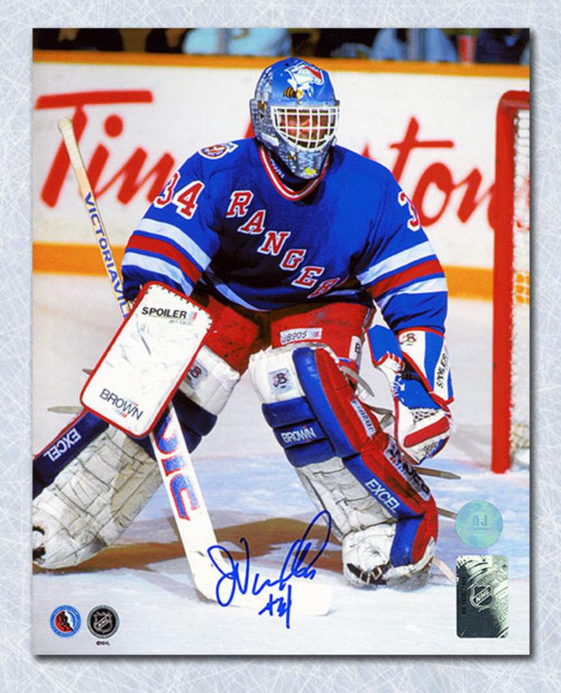 John Vanbiesbrouck New York Rangers Autographed Beezer Mask 8x10 Photo