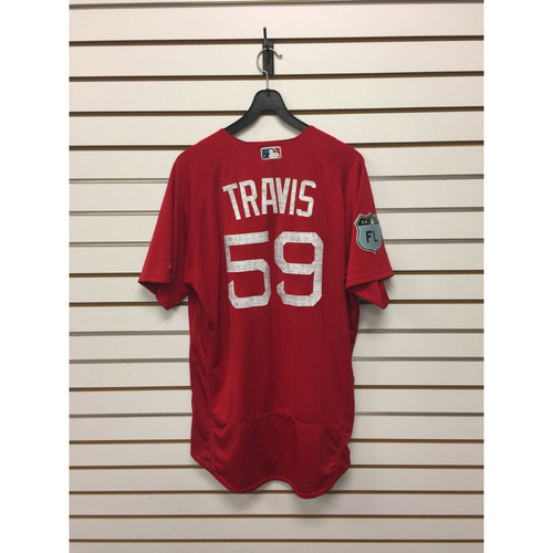 Sam Travis Team-Issued Spring Training Jersey