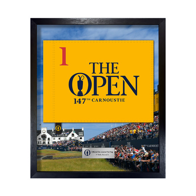 Photo of The 147th Open On-course Pin Flag, 1st Hole, Final Round Framed