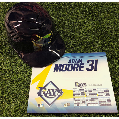 Photo of 2018 Catchers Package #1: Game-Used Locker Tag and Team Issued Throwback Catchers Helmet - Adam Moore