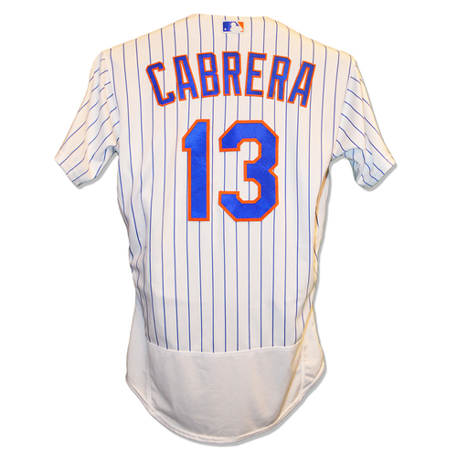 Photo of Asdrubal Cabrera #13 - Team Issued White Pinstripe Jersey - 2018 Season
