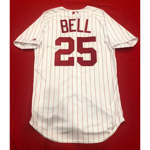 Photo of David Bell -- 1967 Throwback Jersey -- Game-Used for Rockies vs. Reds on July 28, 2019 -- Jersey Size: 44