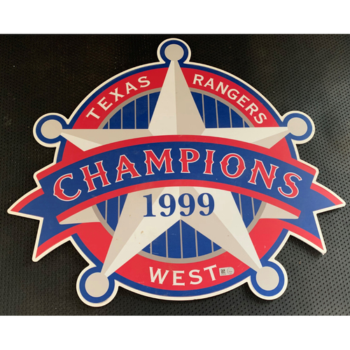 Photo of 1999 A.L. West Champions Sign Displayed in Tunnel Leading From Home Clubhouse to Home Dugout at Globe Life Park