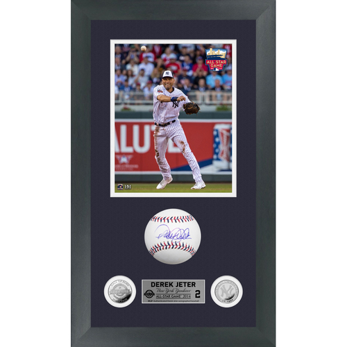 Photo of Derek Jeter Autographed 2014 All Star Game Logo Baseball Shadow Box Frame