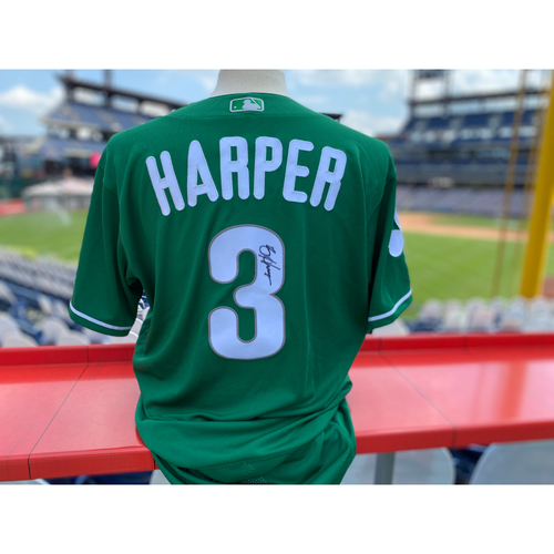 Photo of 2019 Game Used Autographed Bryce Harper St. Patrick's Day Jersey