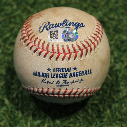 Photo of Game-Used Baseball: Luis Castillo 523rd Career Strikeout (CIN @ KC Game 1 8/19/20)