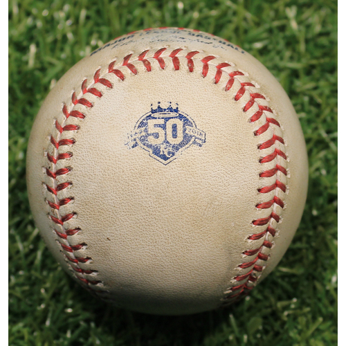 Photo of Game-Used Baseball: Ryan Goins 59th Career Double (CWS @ KC 4/26/18)