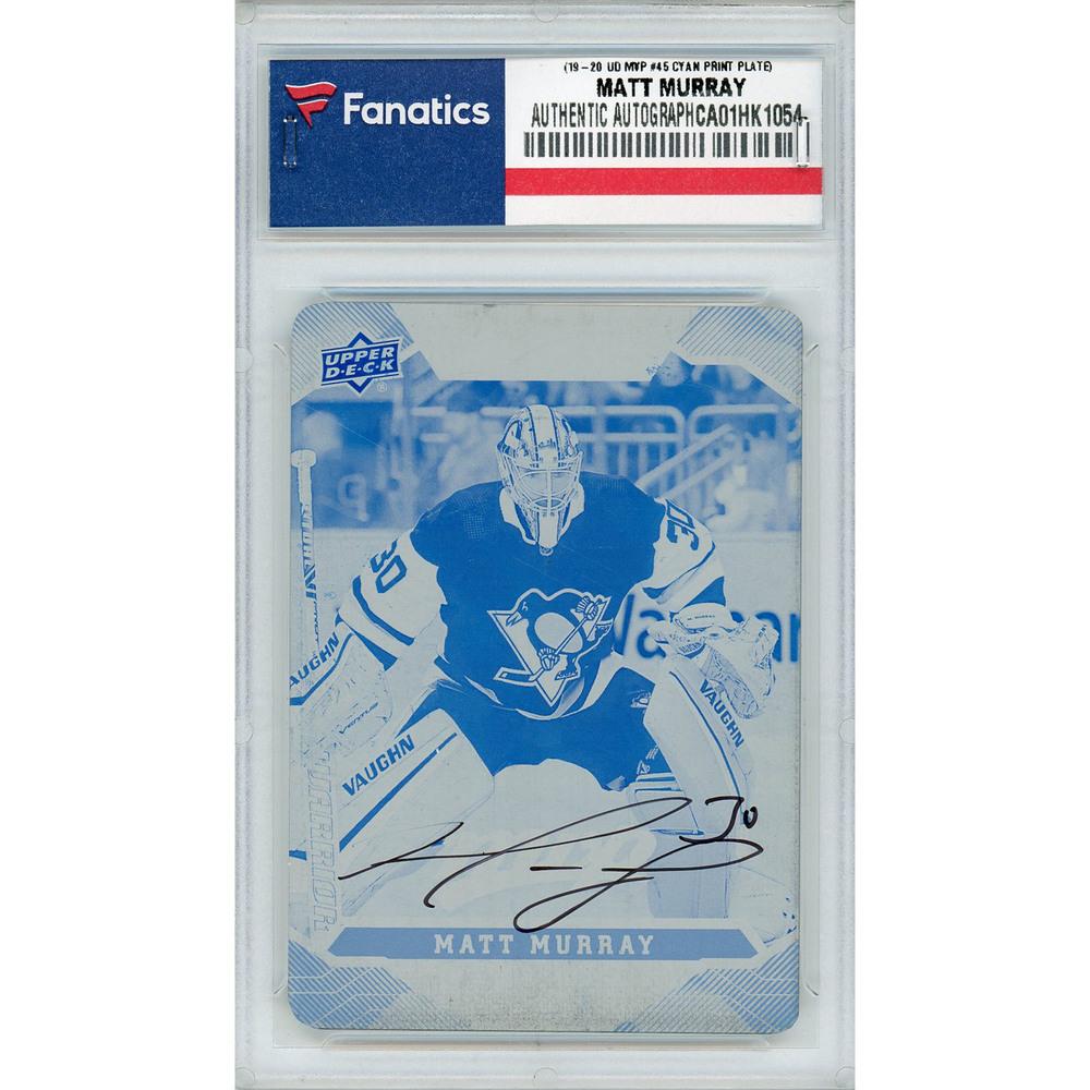 Matt Murray Pittsburgh Penguins Autographed 2019-20 Upper Deck MVP #45 Cyan Printing Plate Card - LE of 1