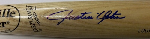 Photo of Justin Upton Autographed Louisville Slugger Bat