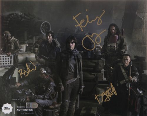Felicity Jones as Jyn Erso, Donnie Yen as Chirrut ÎMWE, and Riz Ahmed as Bodhi Rook 8x10 Multi-Signed IN GOLD INK Photo