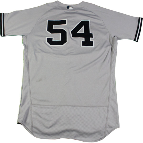 Photo of Aroldis Chapman New York Yankees Game-Used #54 Grey Jersey (8/24/2017). Jersey Size - 46
