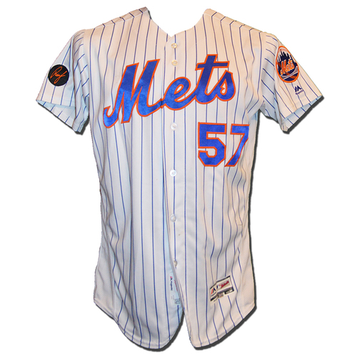 Photo of Dave Racaniello #57 - Game Used White Pinstripe Jersey - Mets vs. Marlins - 9/29/18