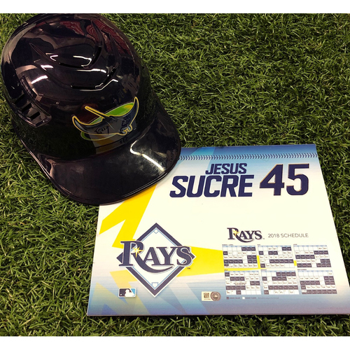 Photo of 2018 Catchers Package #1: Game-Used Locker Tag and Team Issued Throwback Catchers Helmet - Jesus Sucre
