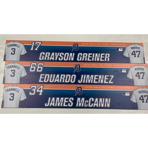 Photo of Set of Game-Used Locker Name Plates: Grayson Greiner, Eduardo Jimenez and James McCann