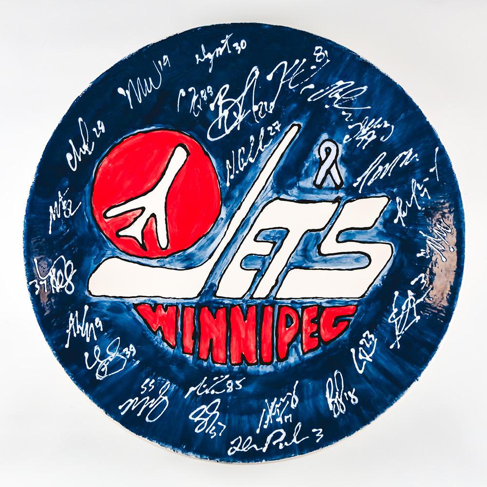 WINNIPEG JETS Heritage Logo Plate, Full Team Signed
