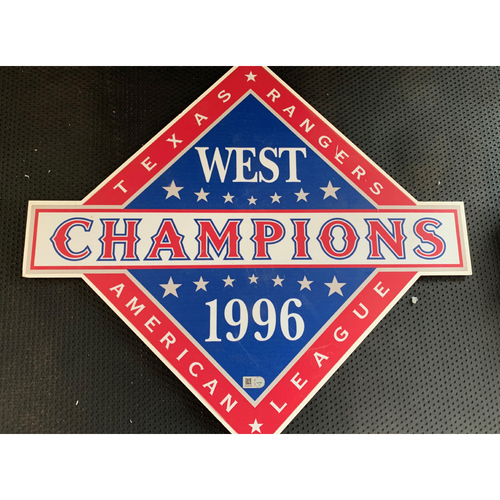 Photo of 1996 A.L. West Champions Sign Displayed in Tunnel Leading From Home Clubhouse to Home Dugout at Globe Life Park - First Title in Team History