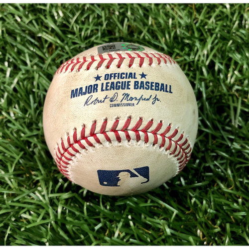 Photo of Game Used Baseball: Mike Tauchman double off Chaz Roe - August 7 , 2020 v NYY