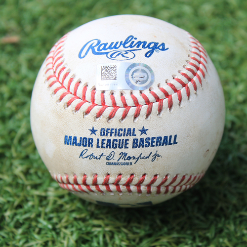 Photo of Game-Used Baseball: Jorge Polanco 489th Career Hit (MIN @ KC 8/7/20)