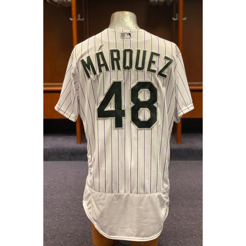 Photo of Colorado Rockies Game-Used 2020 Jersey and Team-Issued Cap: German Marquez