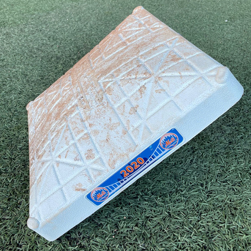 Photo of Game Used Base - 3rd Base, Innings 4-6 - Andres Gimenez 1st Career Triple and RBI - Mets vs. Red Sox - 7/29/20