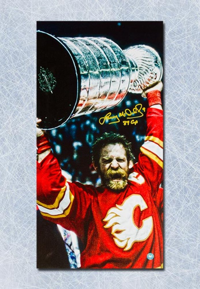 Lanny McDonald Calgary Flames Autographed 14x28 Art Canvas