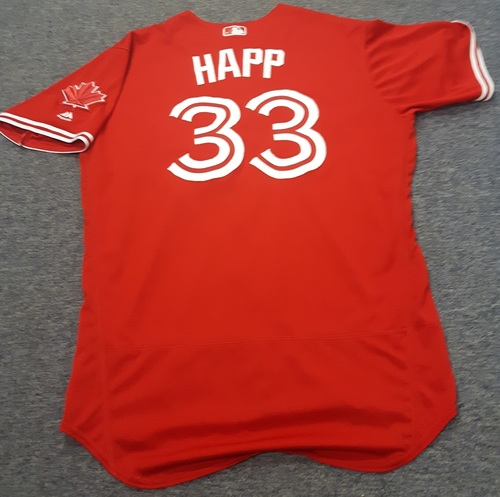 Authenticated Game Used Jersey - #33 J.A. Happ (April 16, 2017: 4.1 IP with 1 ER and 3 Ks. Losing Pitcher. July 1, 2017). Size 48.