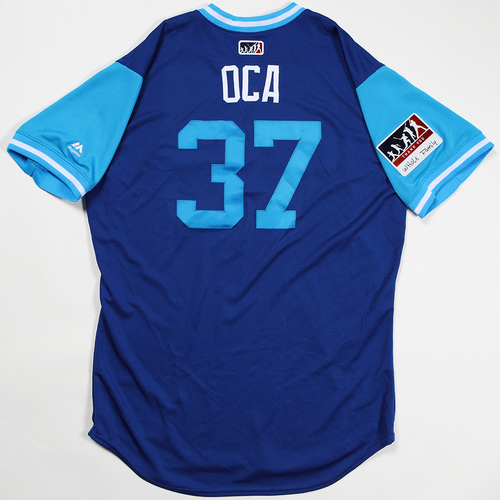 "Photo of Teoscar ""OCA"" Hernandez Toronto Blue Jays Game-Used Jersey 2018 Players' Weekend Jersey"
