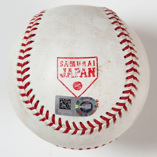 Photo of 2018 Japan Series Game-Used Baseball - Batter: Ronald Acuna, Pitcher: Nao Higashihama - Double, Top 3rd