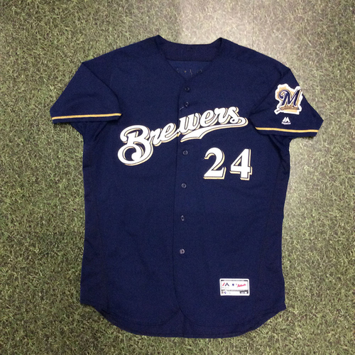 Photo of Jesus Aguilar 2018 Game-Used Navy Alternate Jersey (8/29/18 - First 30 HR Season & Yelich 1st Cycle Game; 9/19 - First 100th RBI Season; 9/26 - Postseason-Clinching Game)