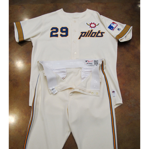 Photo of Seattle Mariners Game Used 1969 Pilots Home Uniform Turn Back The Clock (6/22/19): Scott Servais