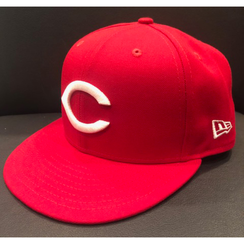 Photo of Jesse Winker -- Game-Used 1990 Throwback Cap -- Cardinals vs. Reds on Aug. 18, 2019 -- Cap Size 7 3/8
