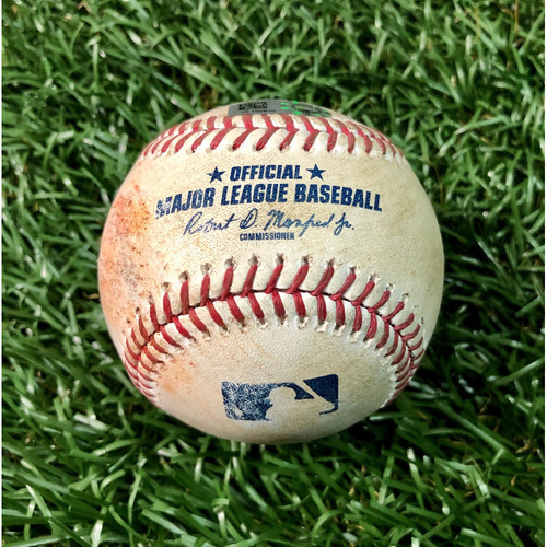 Photo of Game Used Baseball: Sean Gilmartin strikes out Mike Tauchman - First Seven Inning DH at Tropicana Field - Game 1 - August 8, 2020 v NYY
