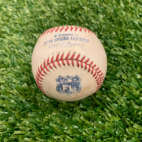 Photo of Minnesota Twins: 2016 Game-used Baseball - P: Brian Johnson, H: Byung Ho Park Foul. Top 5 - 3/2/2016 vs Boston Red Sox **Park's MLB Spring Training and Twins Debut**