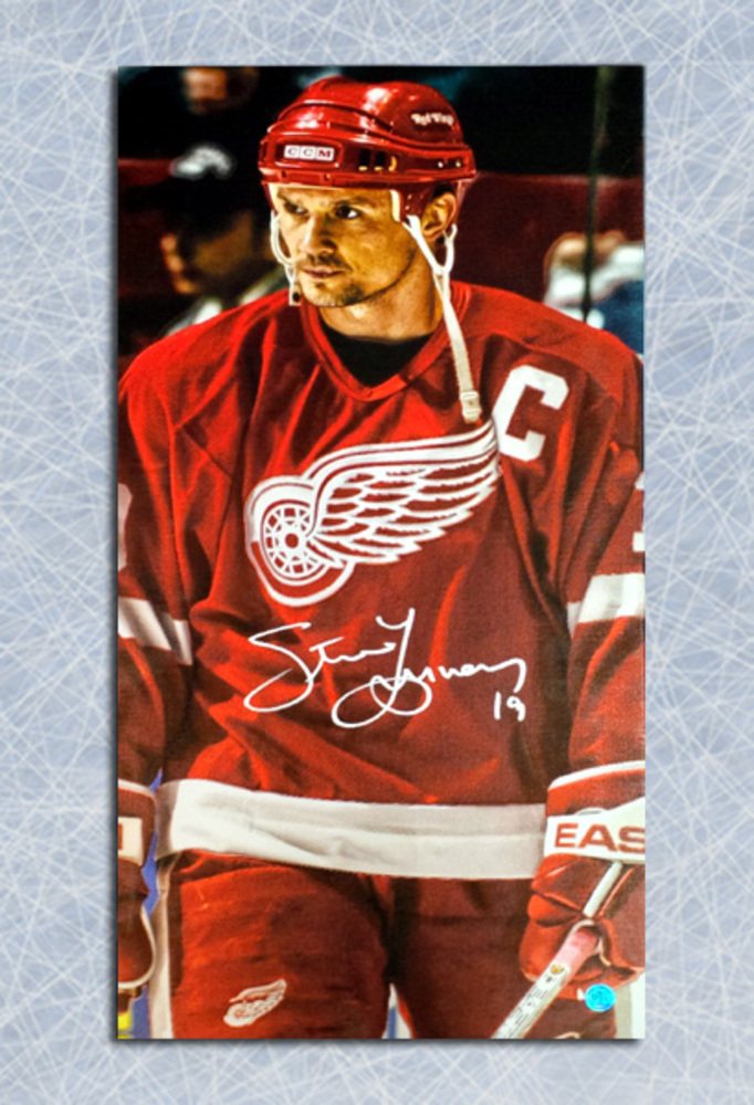 Steve Yzerman Detroit Red Wings Autographed Captain 14x28 Art Canvas