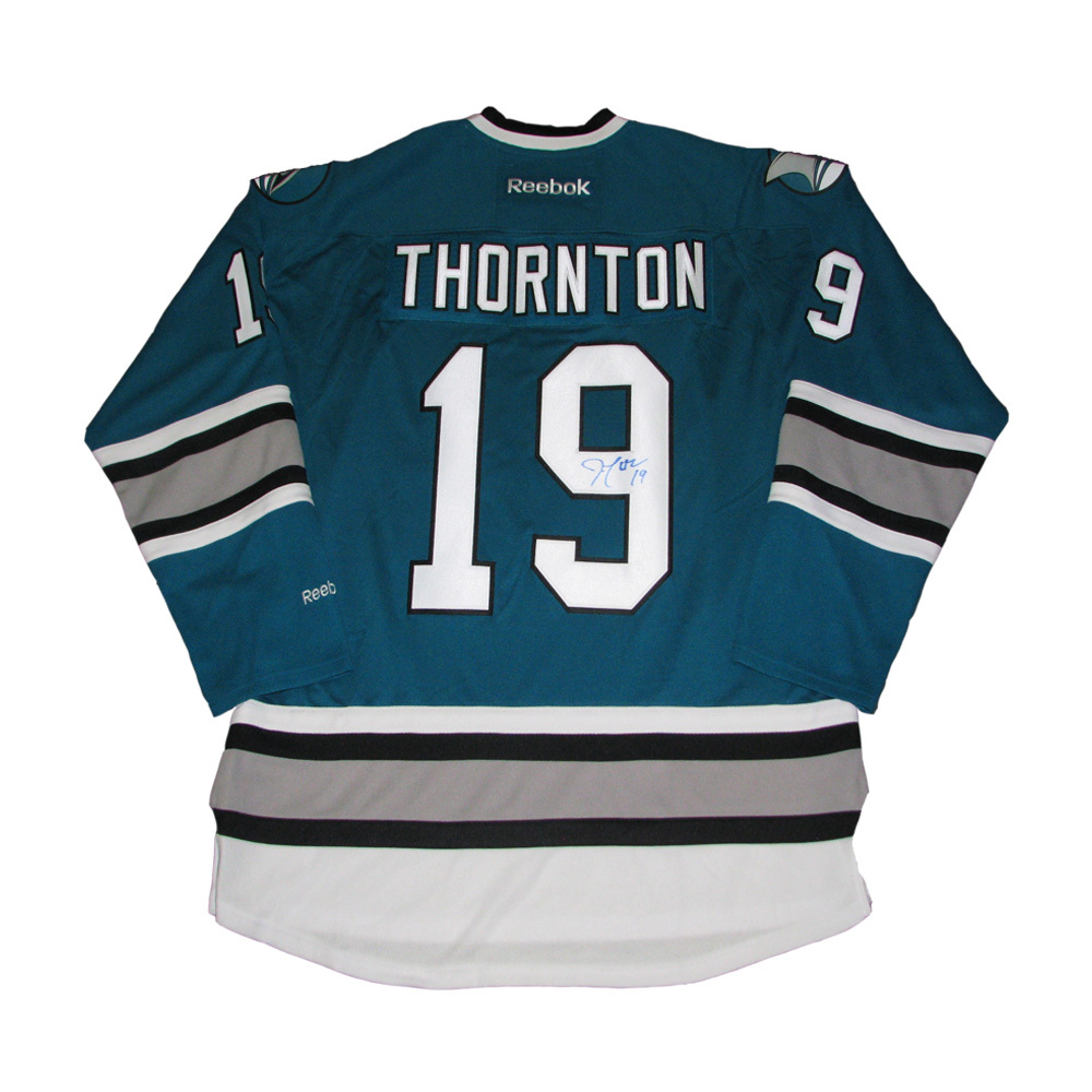 JOE THORNTON Signed San Jose Sharks 25th Anniversary Teal Reebok Jersey