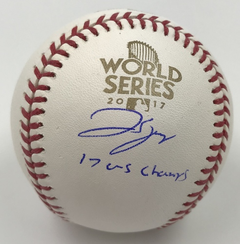 "Photo of George Springer ""17 WS Champs"" Autographed 2017 World Series Logo Baseball"