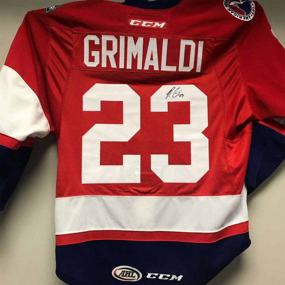 2018 AHL All-Star Challenge Warm-Up Jersey Worn and Signed by #23 Rocco Grimaldi