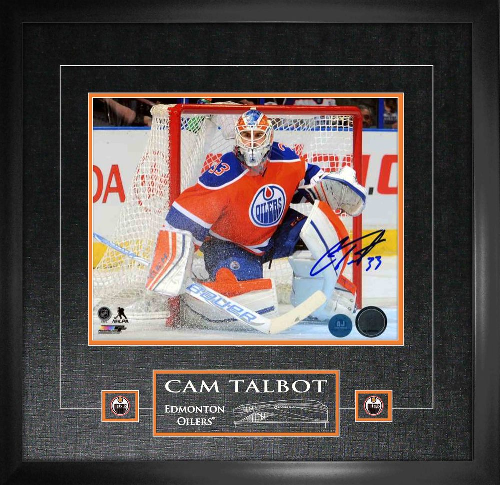 Cam Talbot - Signed 11x14 Etched Mat Edmonton Oilers Orange Action-H