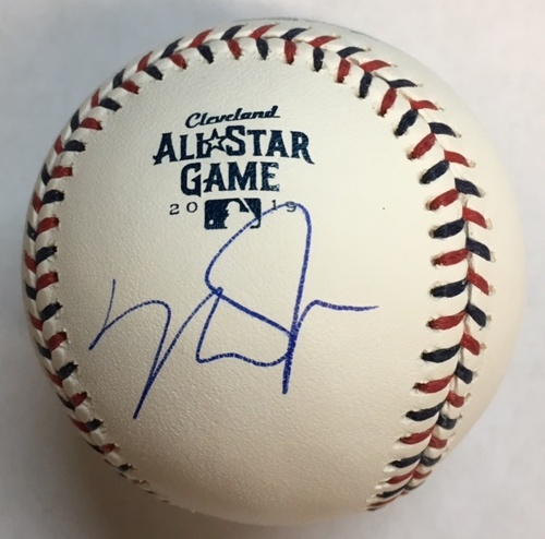 Photo of Mike Trout Autographed 2019 All Star Game Logo Baseball